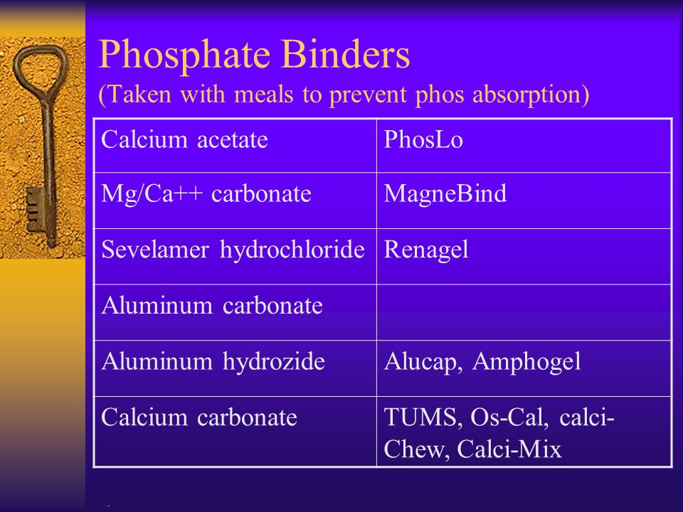 Phosphate Binders (Taken with meals to prevent phos absorption)