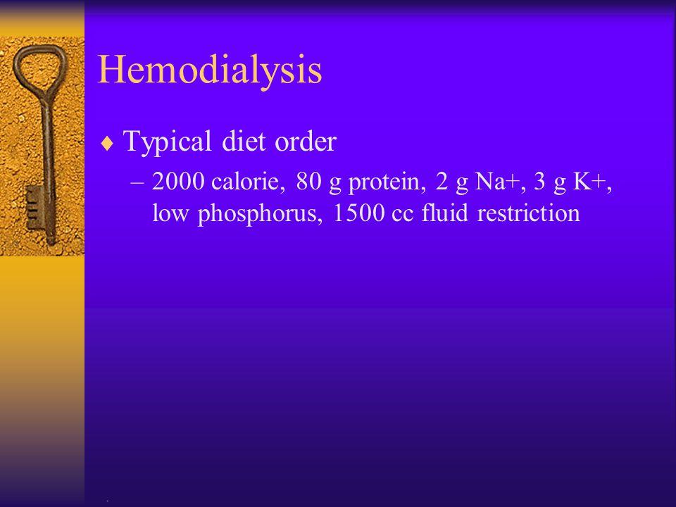 Hemodialysis Typical diet order