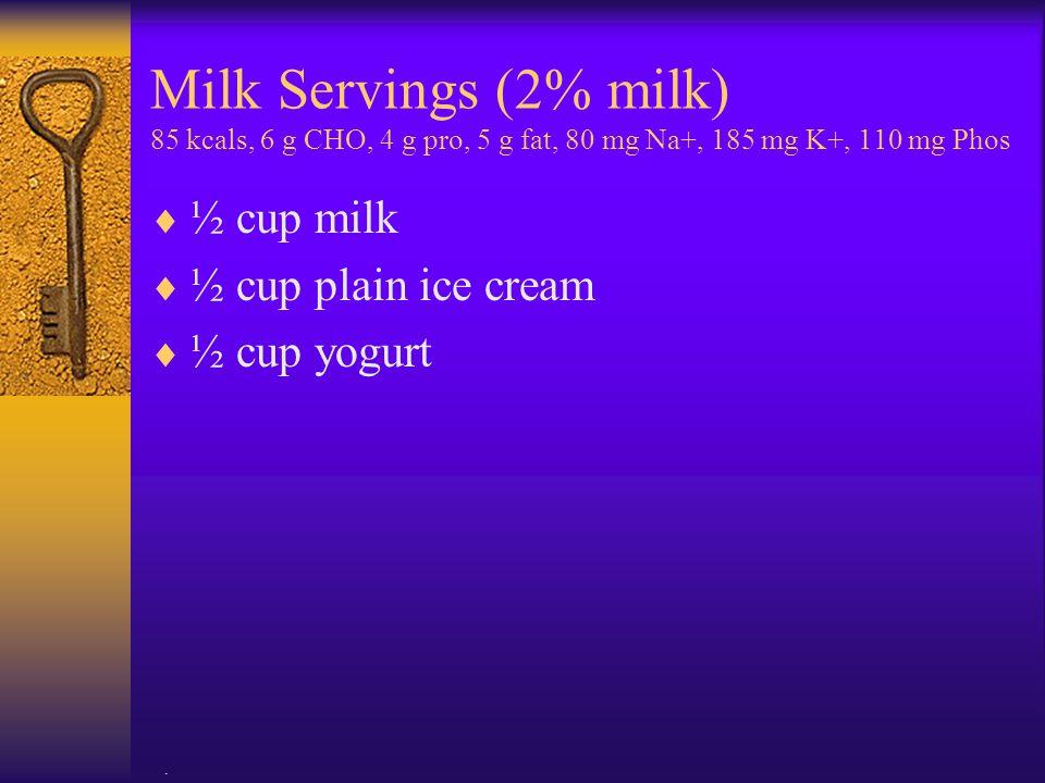 Milk Servings (2% milk) 85 kcals, 6 g CHO, 4 g pro, 5 g fat, 80 mg Na+, 185 mg K+, 110 mg Phos