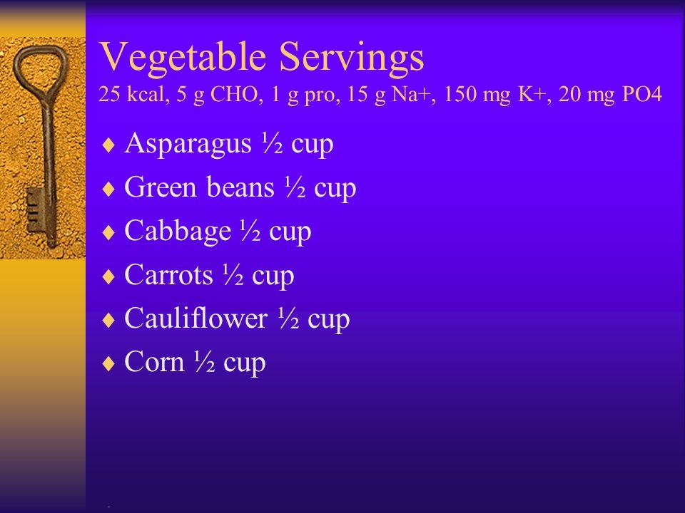 Vegetable Servings 25 kcal, 5 g CHO, 1 g pro, 15 g Na+, 150 mg K+, 20 mg PO4