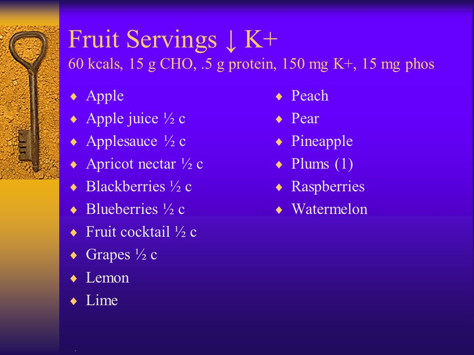 Fruit Servings ↓ K+ 60 kcals, 15 g CHO,