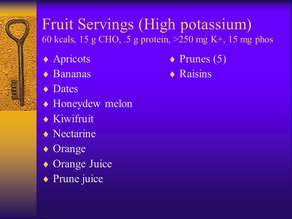 Fruit Servings (High potassium) 60 kcals, 15 g CHO,