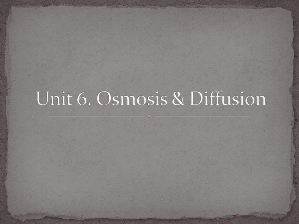 Unit 6. Osmosis & Diffusion