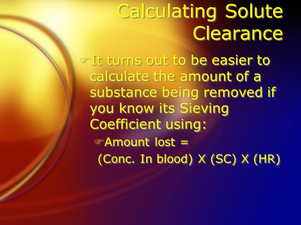 Calculating Solute Clearance