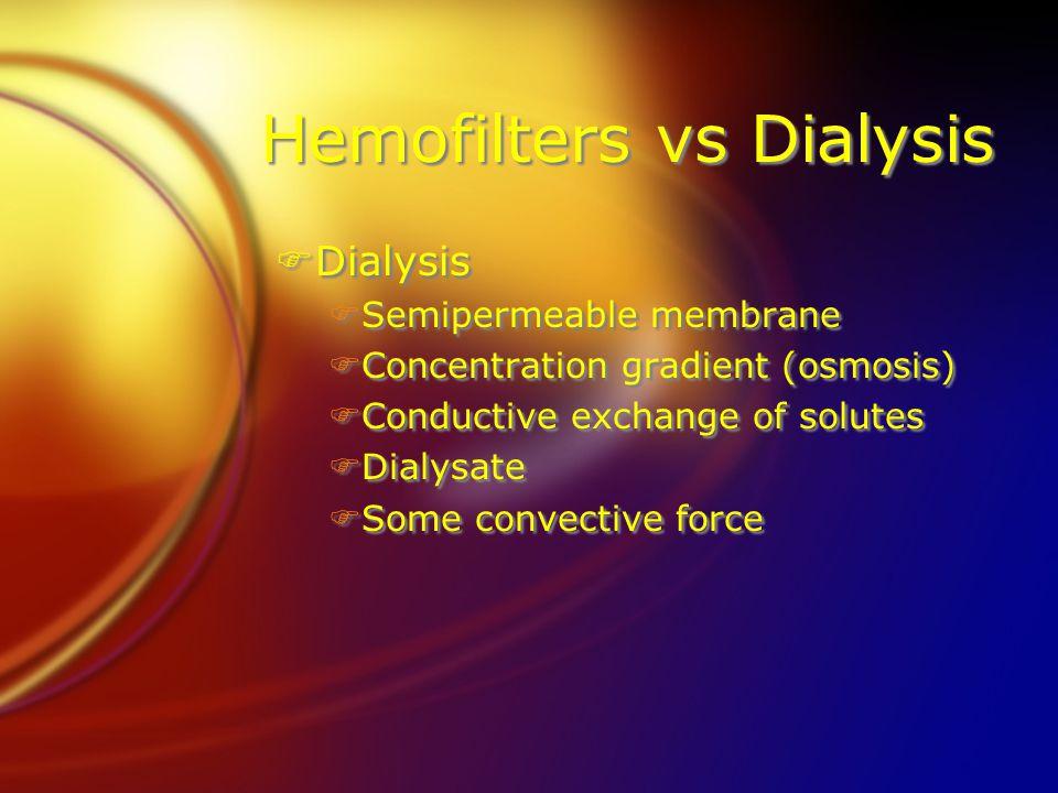 Hemofilters vs Dialysis