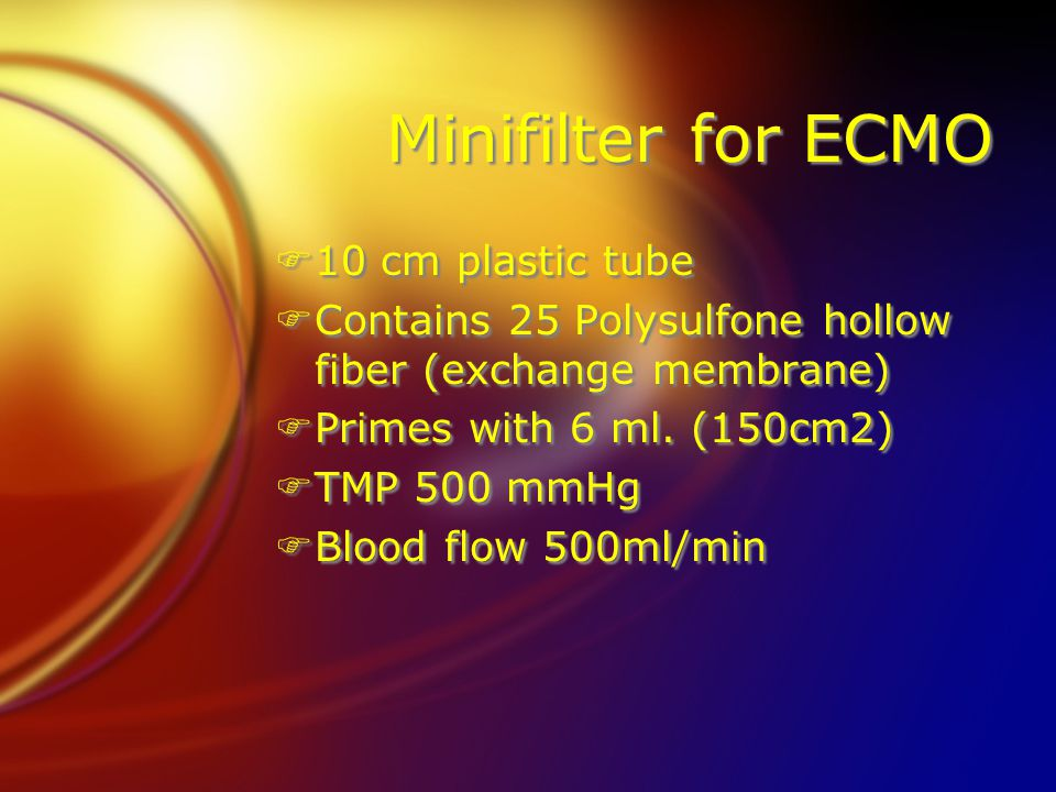 Minifilter for ECMO 10 cm plastic tube
