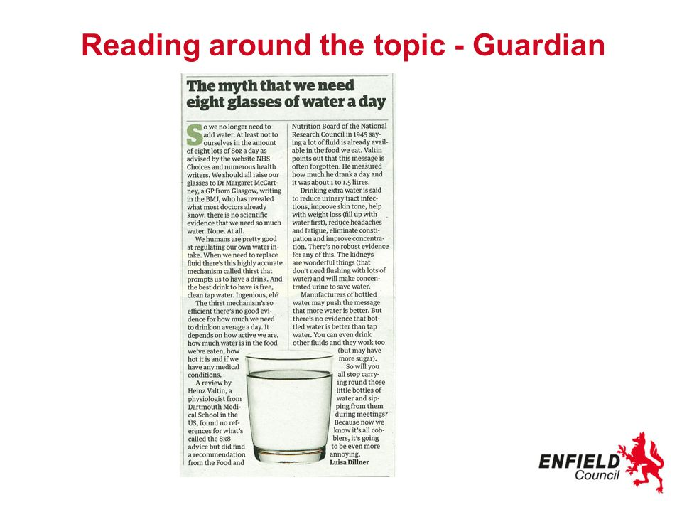 Reading around the topic - Guardian