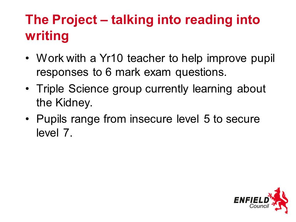 The Project – talking into reading into writing