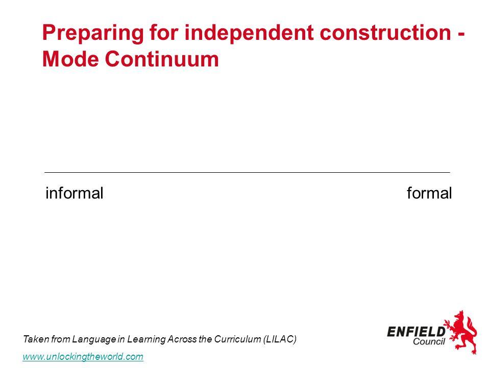 Preparing for independent construction - Mode Continuum