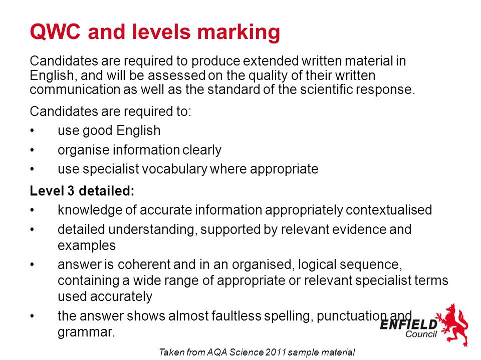 QWC and levels marking