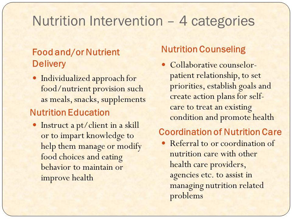 Nutrition Intervention – 4 categories