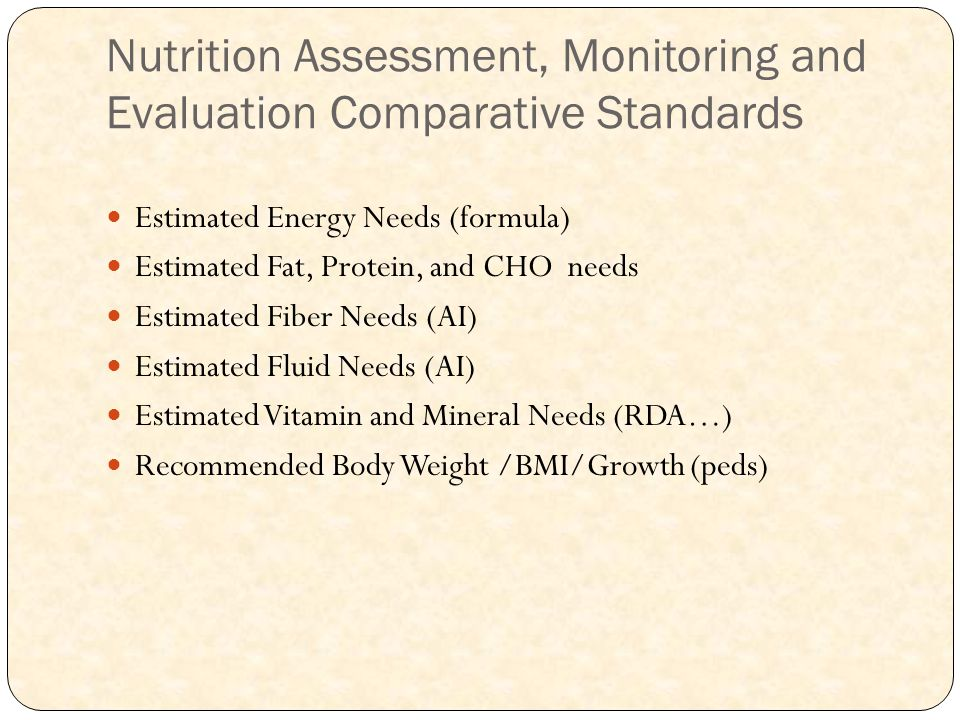 Nutrition Assessment, Monitoring and Evaluation Comparative Standards