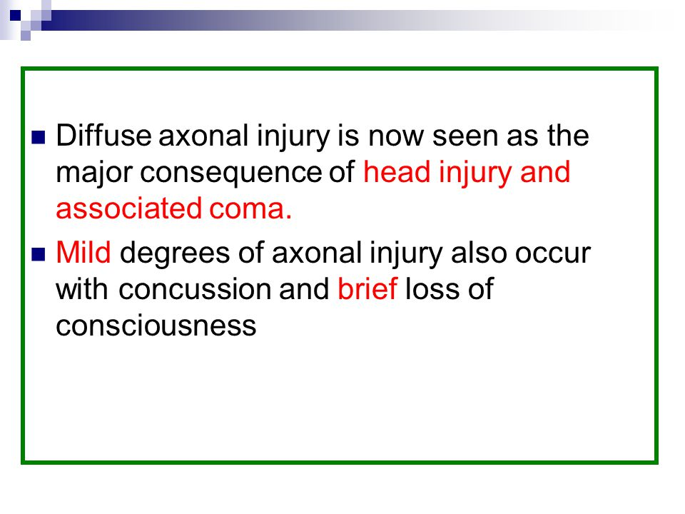 Diffuse axonal injury is now seen as the major consequence of head injury and associated coma.