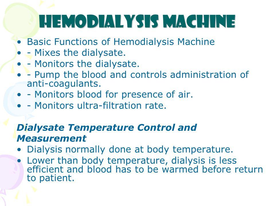 Hemodialysis Machine Basic Functions of Hemodialysis Machine