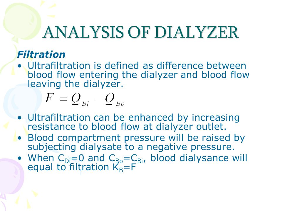 ANALYSIS OF DIALYZER Filtration