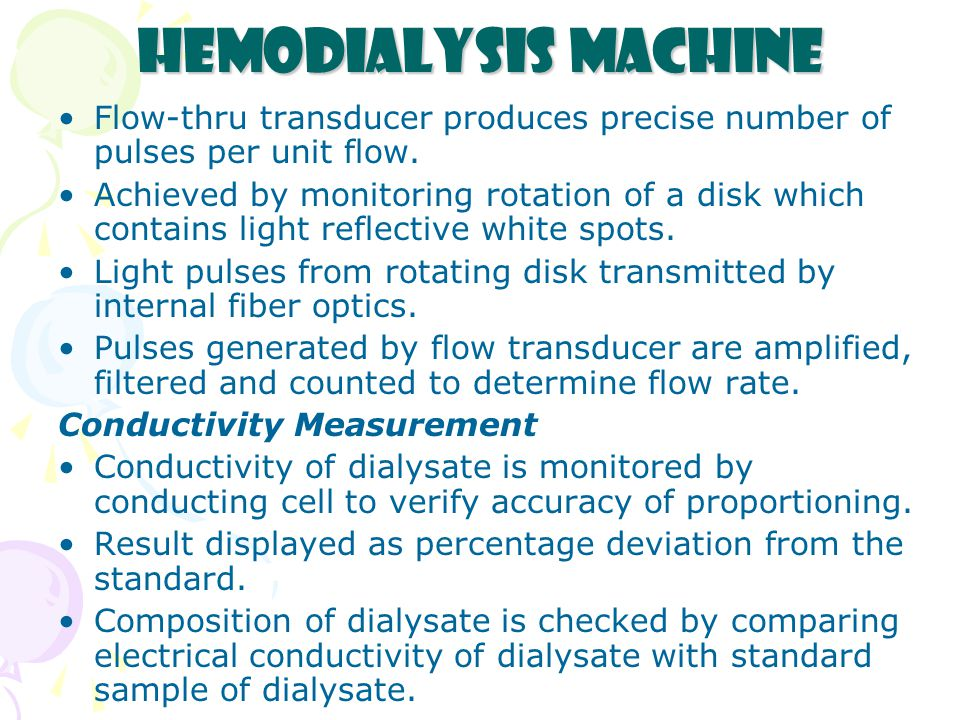 Hemodialysis Machine Flow-thru transducer produces precise number of pulses per unit flow.
