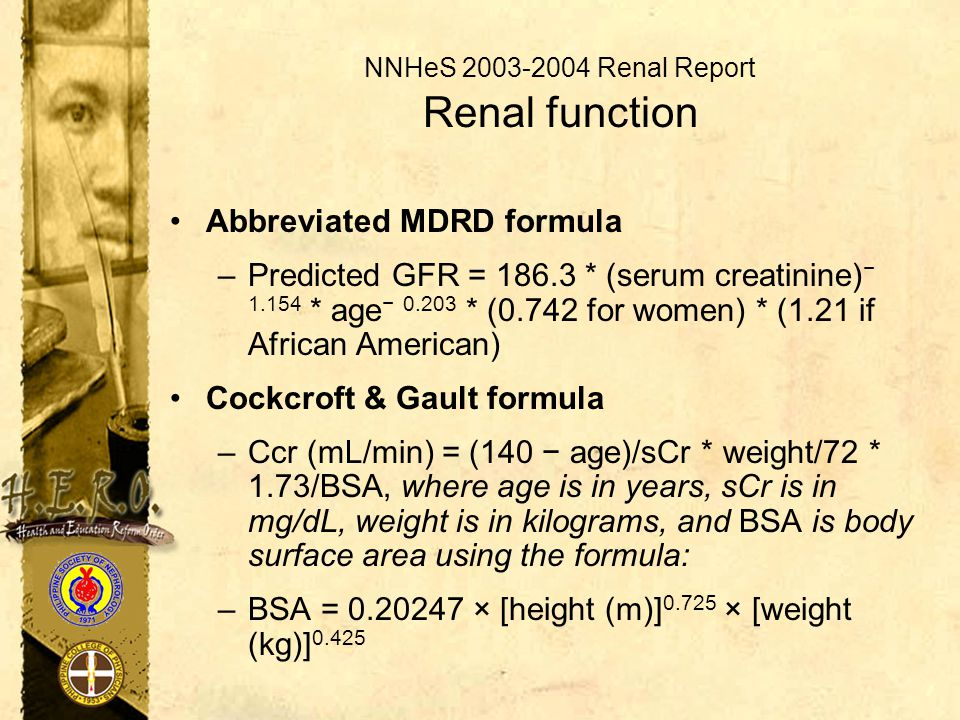 NNHeS 2003-2004 Renal Report Renal function