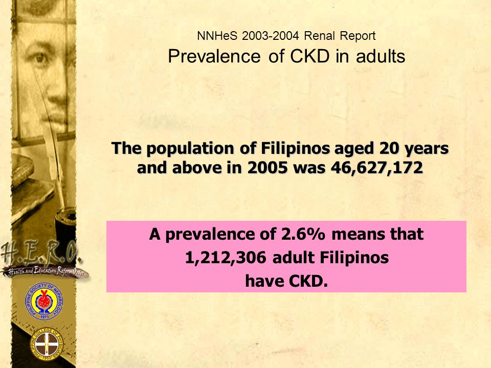 NNHeS 2003-2004 Renal Report Prevalence of CKD in adults