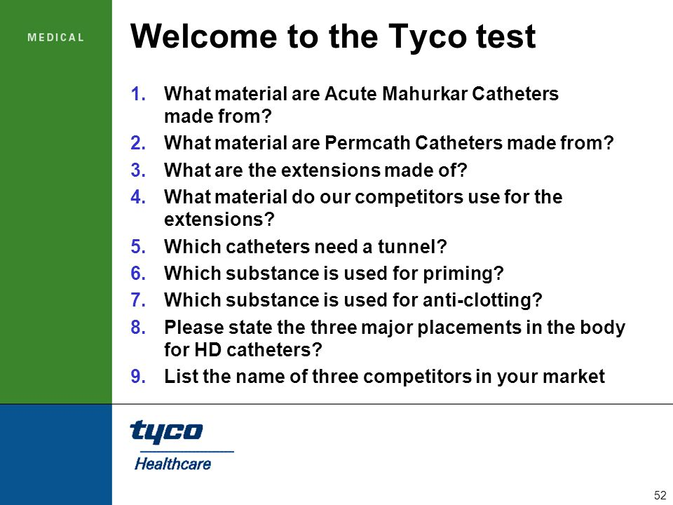 Welcome to the Tyco test