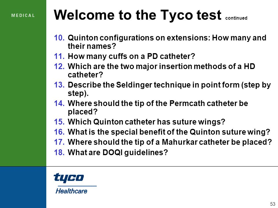 Welcome to the Tyco test continued