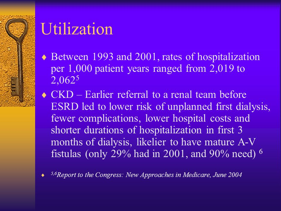 Utilization Between 1993 and 2001, rates of hospitalization per 1,000 patient years ranged from 2,019 to 2,0625.
