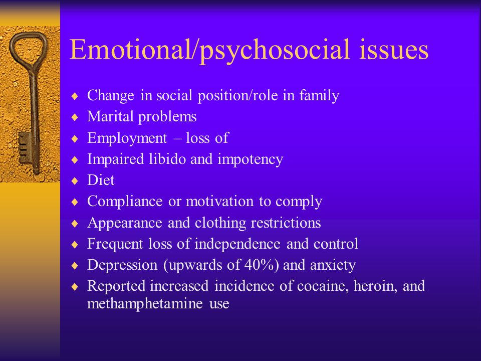 Emotional/psychosocial issues
