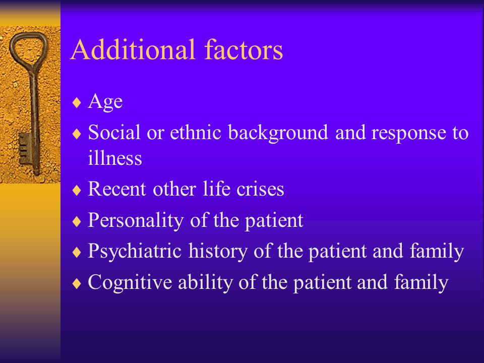 Additional factors Age
