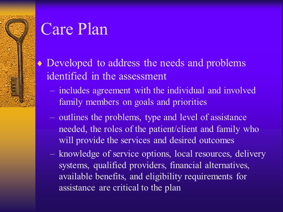Care Plan Developed to address the needs and problems identified in the assessment.