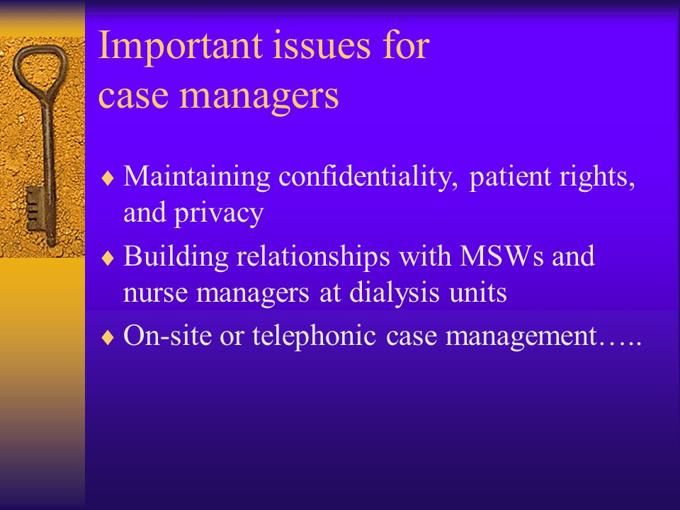 Important issues for case managers