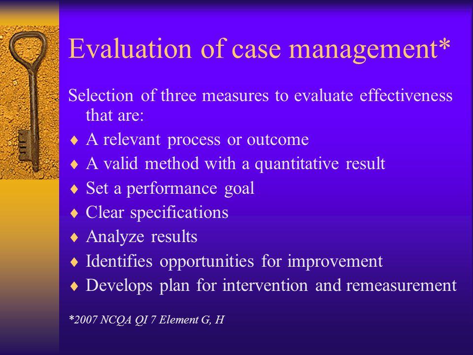 Evaluation of case management*