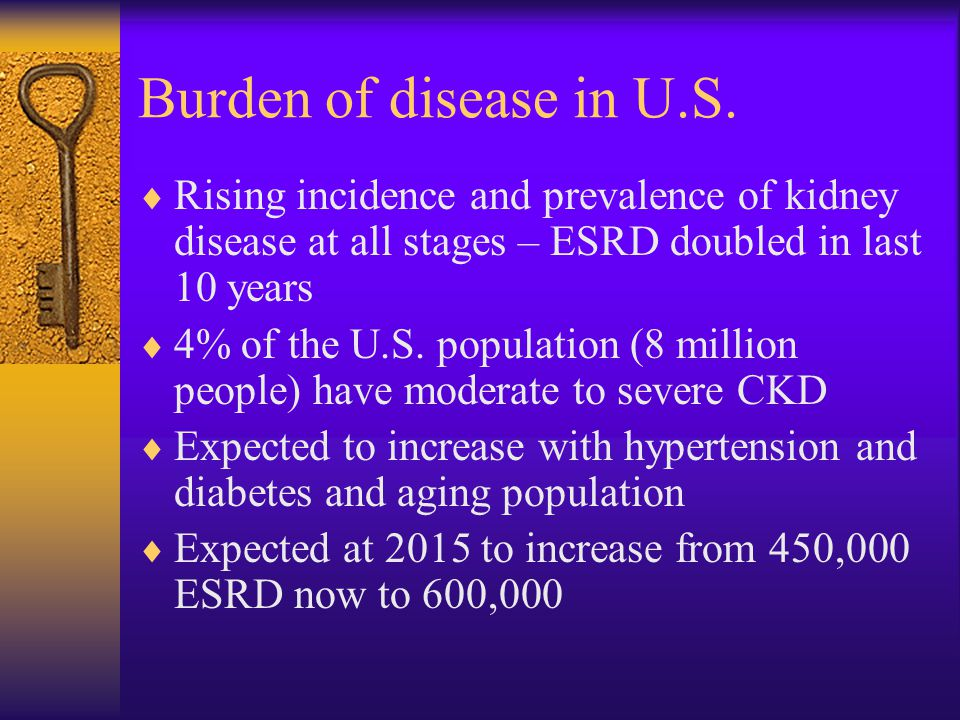 Burden of disease in U.S. Rising incidence and prevalence of kidney disease at all stages – ESRD doubled in last 10 years.