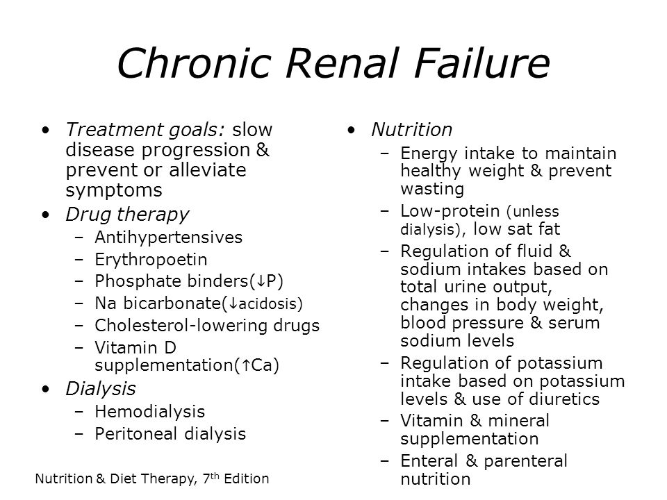 Chronic Renal Failure Treatment goals: slow disease progression & prevent or alleviate symptoms. Drug therapy.