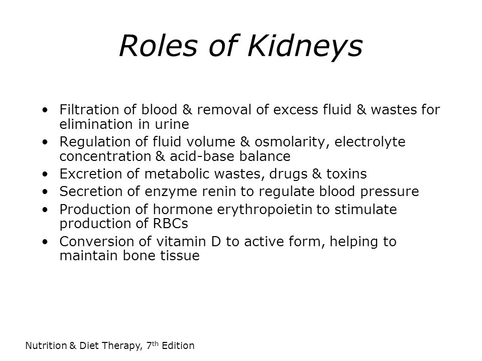 Roles of Kidneys Filtration of blood & removal of excess fluid & wastes for elimination in urine.
