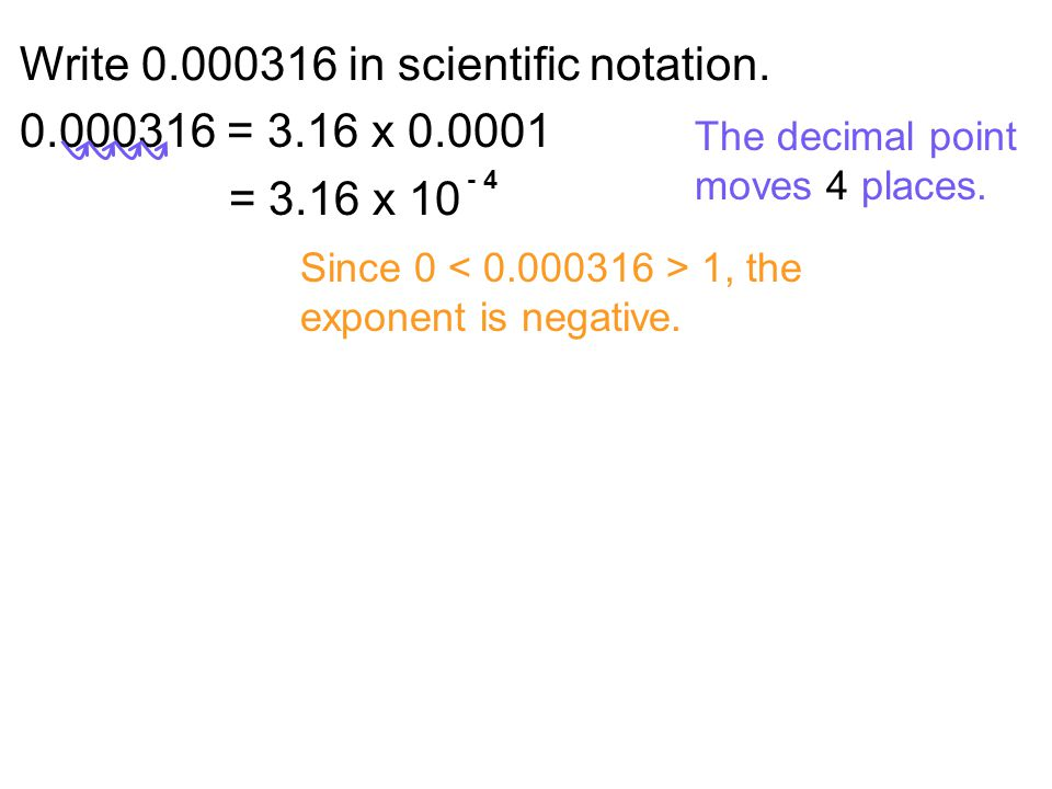 Write 0.000316 in scientific notation. 0.000316 = 3.16 x 0.0001
