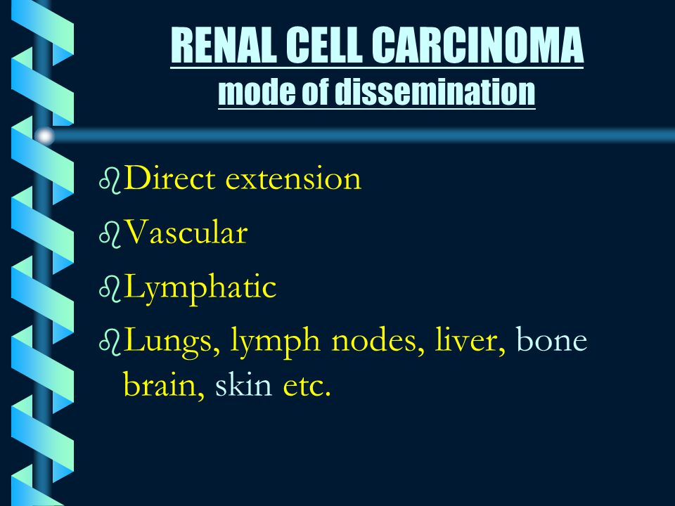 RENAL CELL CARCINOMA mode of dissemination