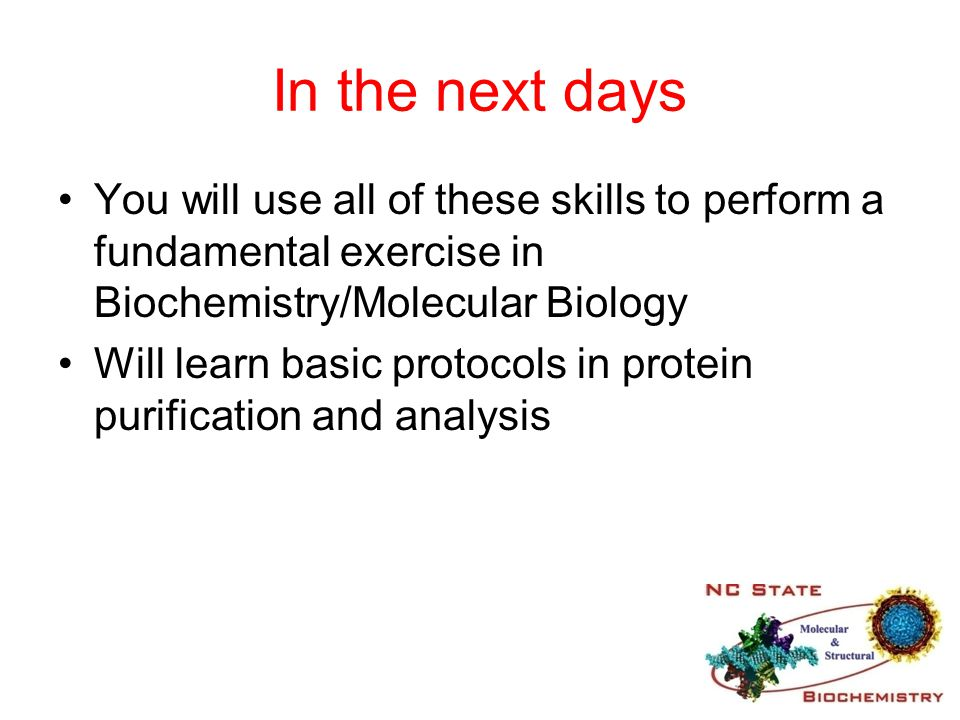 In the next days You will use all of these skills to perform a fundamental exercise in Biochemistry/Molecular Biology.