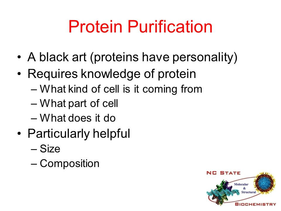Protein Purification A black art (proteins have personality)