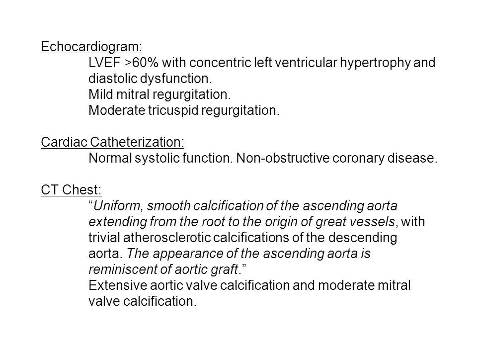 Echocardiogram: LVEF >60% with concentric left ventricular hypertrophy and diastolic dysfunction. Mild mitral regurgitation.