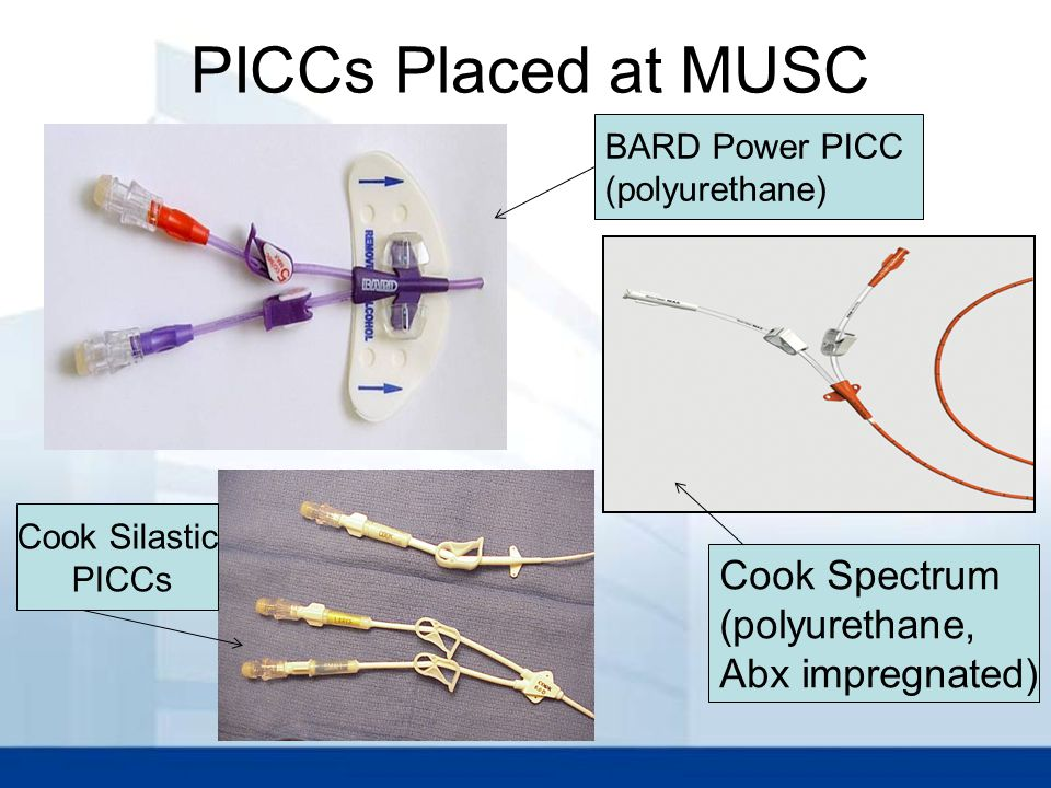 PICCs Placed at MUSC Cook Spectrum (polyurethane, Abx impregnated)