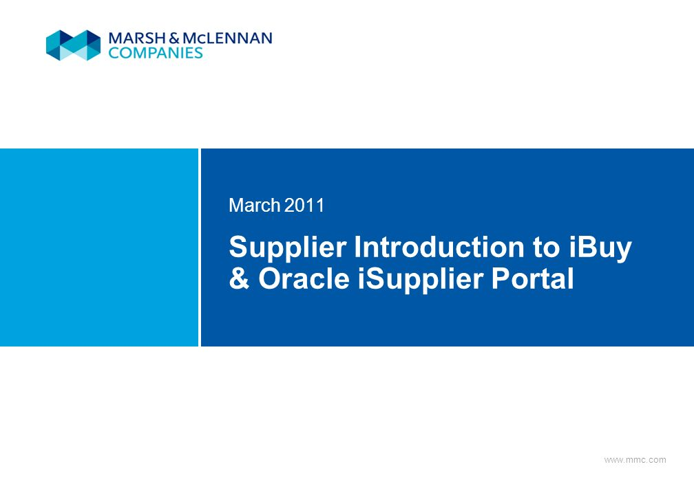 Supplier Introduction to iBuy & Oracle iSupplier Portal