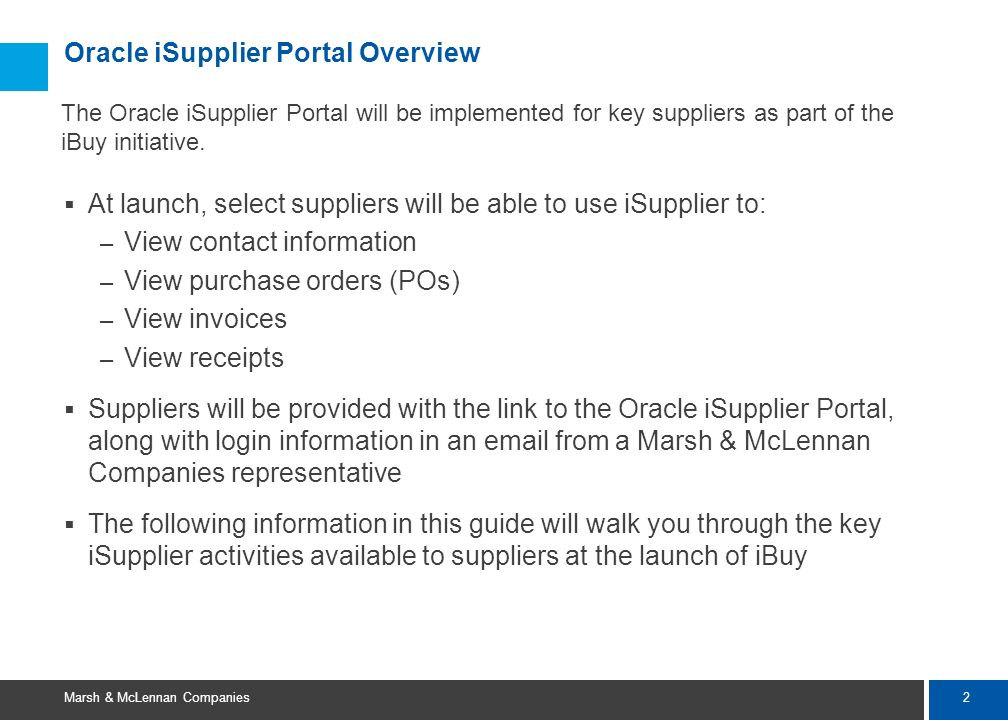Oracle iSupplier Portal Overview