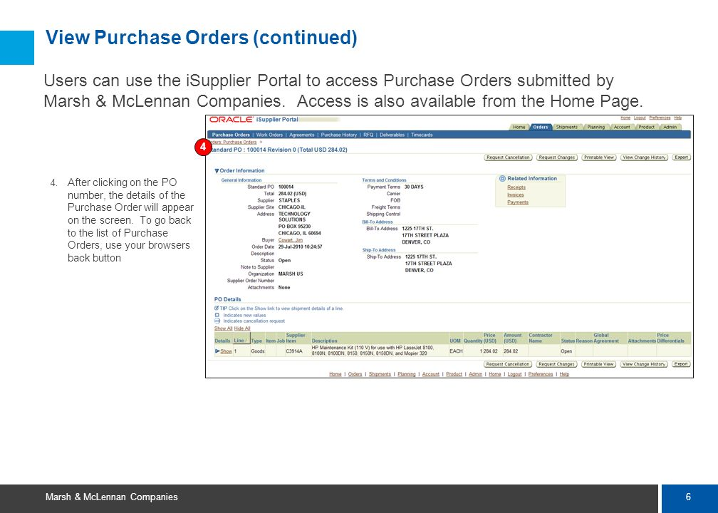 View Purchase Orders (continued)