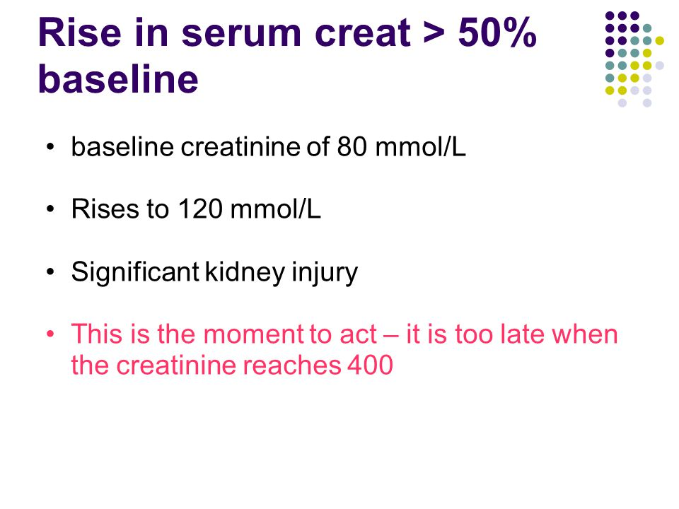 Rise in serum creat > 50% baseline