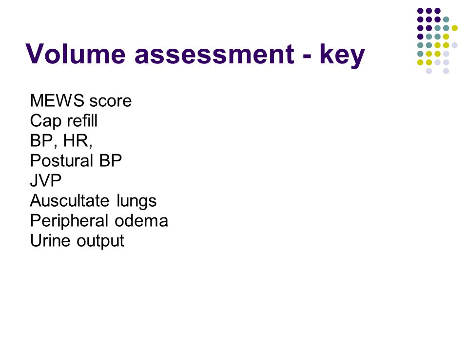 Volume assessment - key
