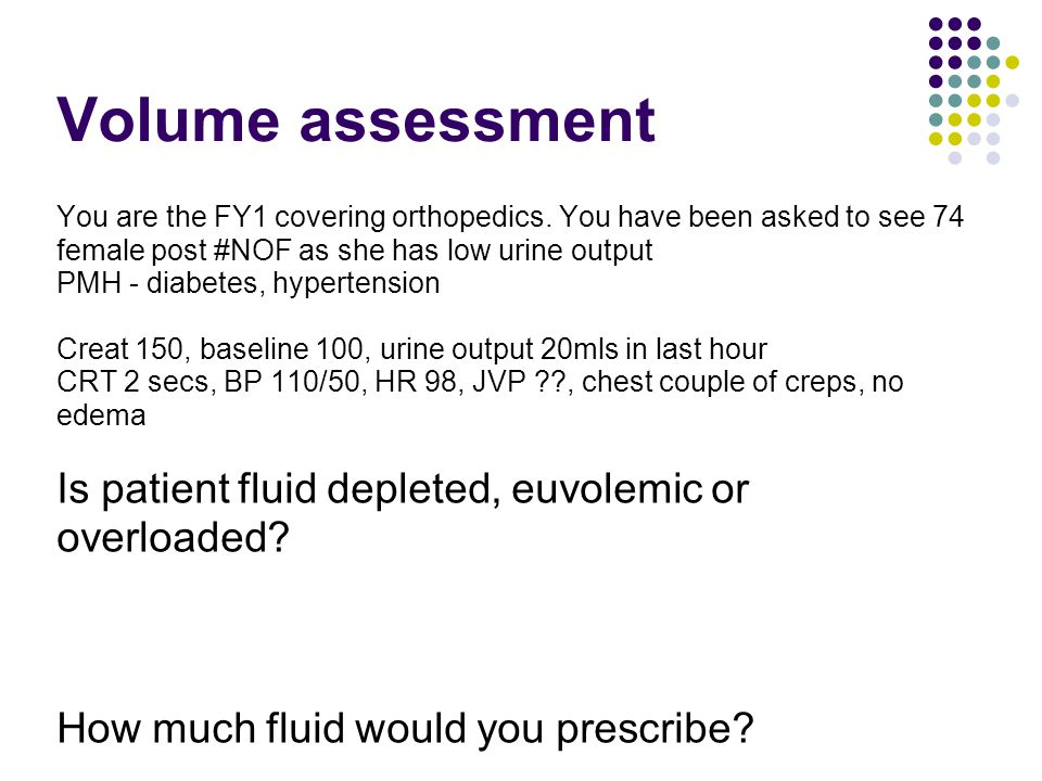 Volume assessment Is patient fluid depleted, euvolemic or overloaded