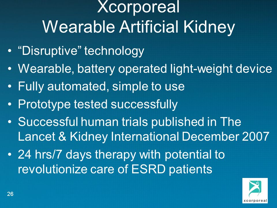 Xcorporeal Wearable Artificial Kidney