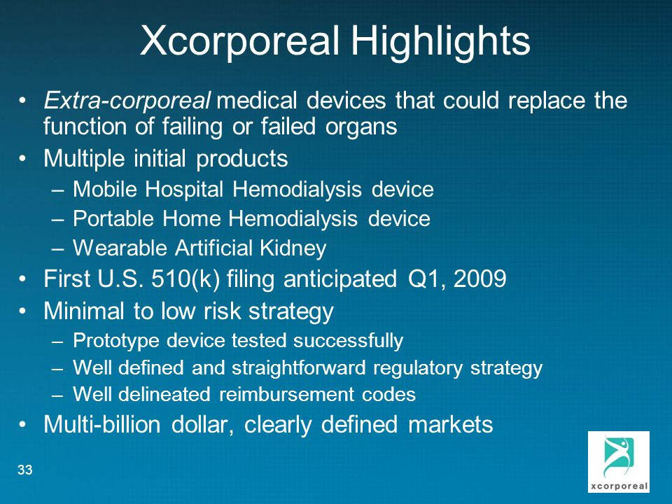 Xcorporeal Highlights