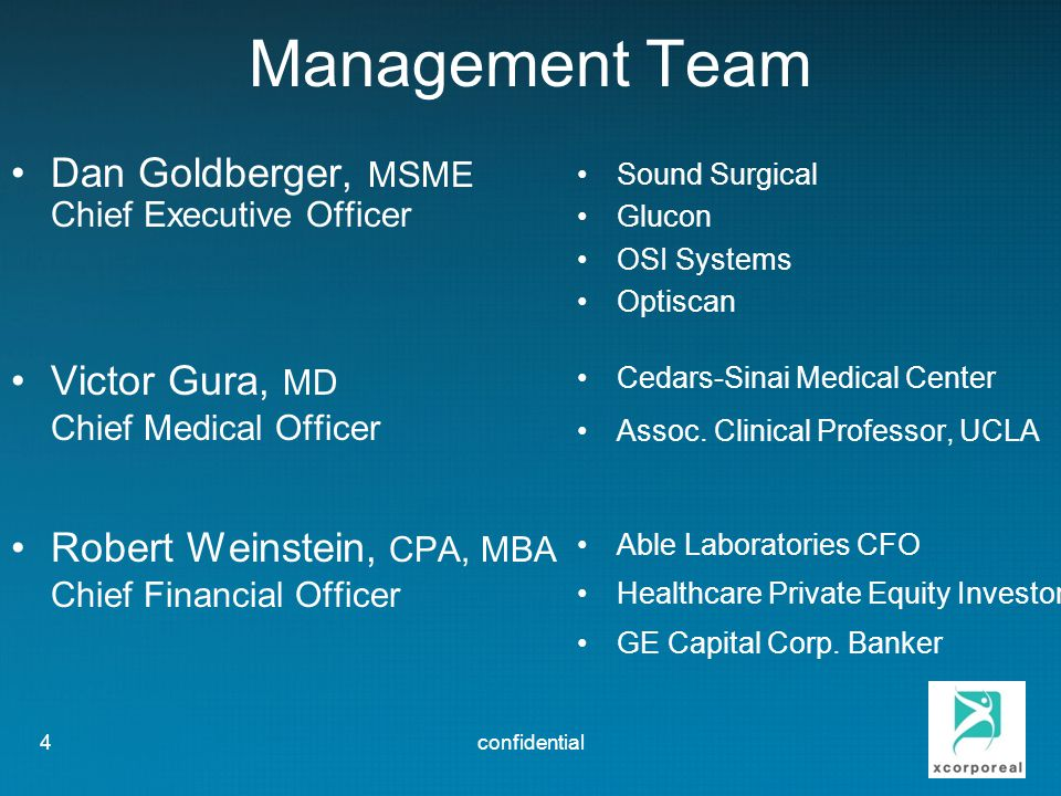 Management Team Dan Goldberger, MSME Victor Gura, MD