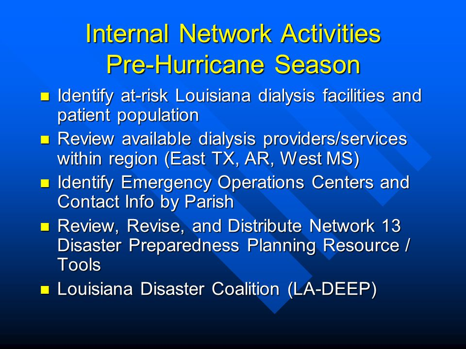 Internal Network Activities Pre-Hurricane Season