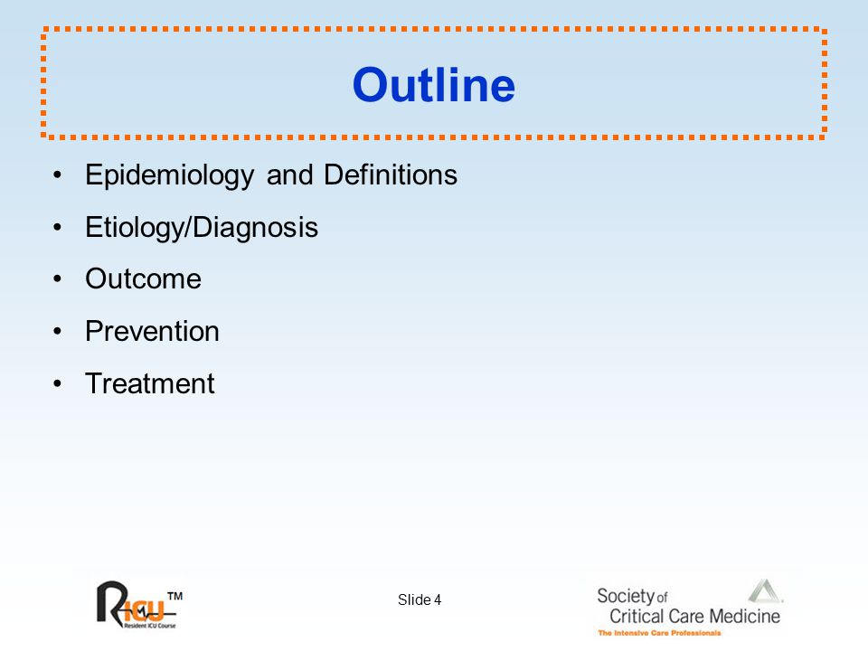 Outline Epidemiology and Definitions Etiology/Diagnosis Outcome